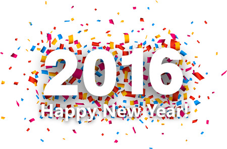 new year: Happy new year 2016 with colour confetti. Vector paper illustration. Illustration