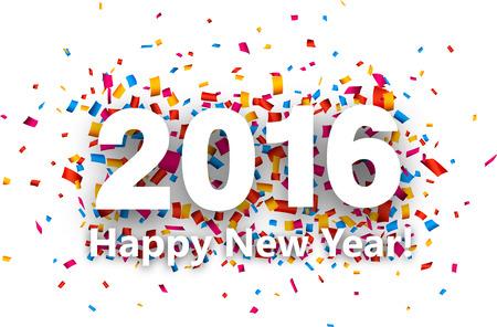New Year: Szczęśliwego nowego roku 2016 z kolorowym konfetti. Wektor papieru ilustracji.