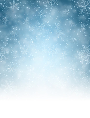 blue christmas background: Christmas blurred background with snowflakes. Vector Illustration.