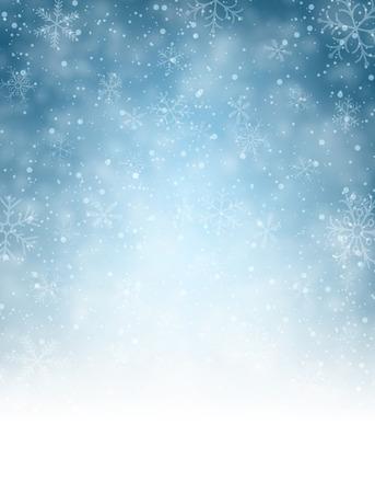 sottofondo: Natale sfondo sfocato con fiocchi di neve. Illustrazione vettoriale.