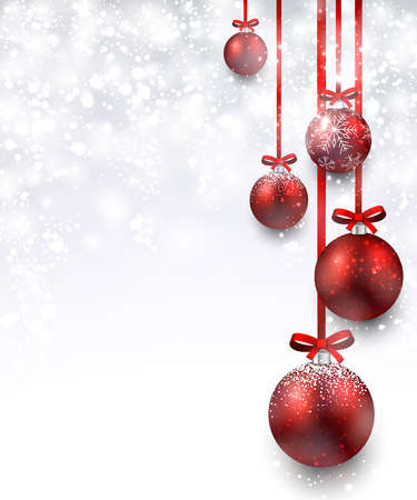 silver ribbon: Christmas background with red balls. Vector Illustration.