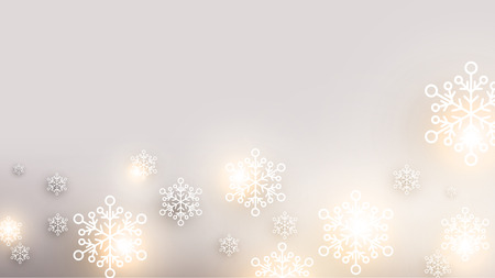 white poster: Christmas blurred background with snowflakes. Vector Illustration.