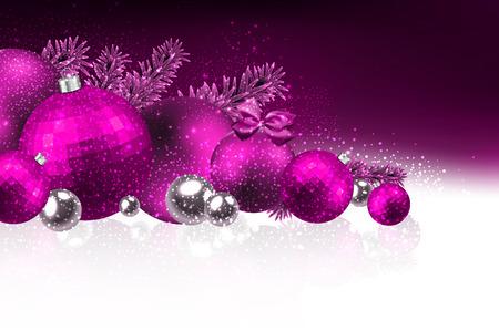 Christmas card with christmas balls. Vector Illustration. Ilustração