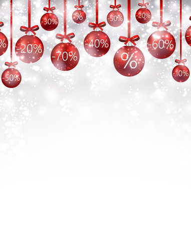 Christmas sale background with balls. Vector Illustration. Ilustrace