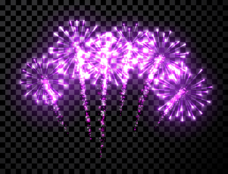 anniversary celebration: Festive lilac firework background. Vector illustration.