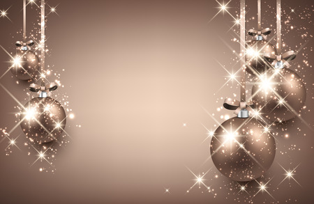 argent: New Year background with balls. Vector illustration.