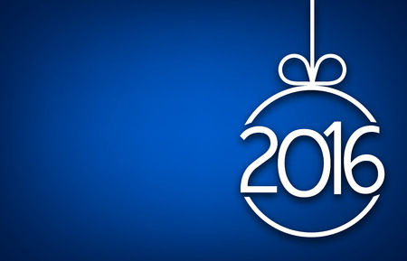 happy client: 2016 New Year sign on blue background. Vector paper illustration.