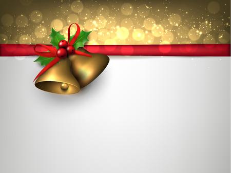 hojas parra: Tarjeta de papel con las campanas de oro de la Navidad y el lugar de texto. Bayas del acebo. Ilustración del vector.