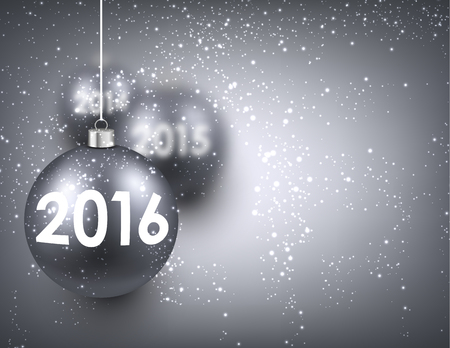 argent: 2016 New Year background with silver balls. Vector illustration.