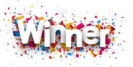 Sinal vencedor com confetes coloridos. Vector papel ilustra Ilustração