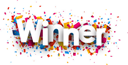 competitions: Winner sign with colour confetti. Vector paper illustration.