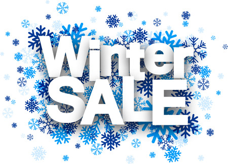 new sign: Winter sale white paper sign over blue snowflakes. Vector illustration.
