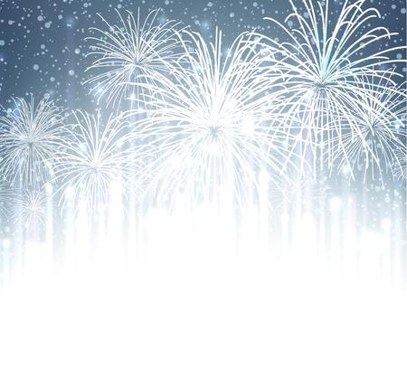 ünneplés: Ünnepi karácsony tűzijáték háttérben. Vektoros illusztráció.