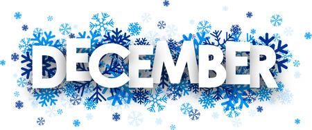diciembre: Signo de diciembre con los copos de nieve. Ilustración del vector.