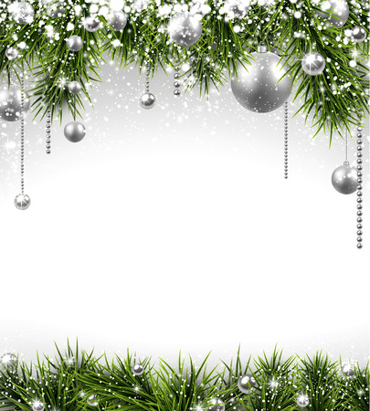 twigs: Winter background with spruce twigs and silver baubles. Christmas vector frame with place for text.