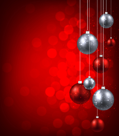 Kerst rode achtergrond met kleur ballen. Vector illustratie.