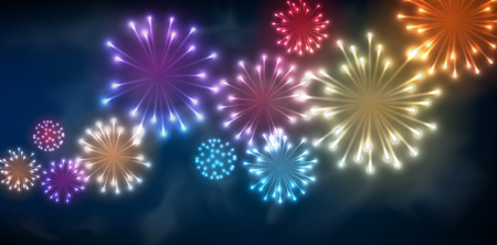 festive background: Festive colour firework background. Vector illustration. Illustration