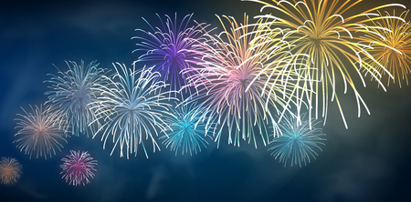 Festive colour firework background. Vector illustration. 矢量图像