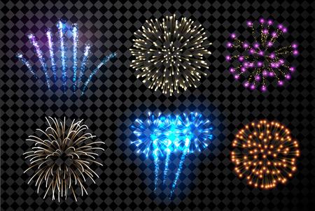 Festive fireworks set isolated on black background. Vector illustration.