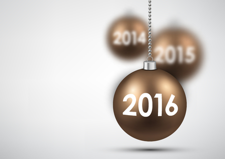 argent: 2016 New Year background with balls. Vector illustration. Illustration