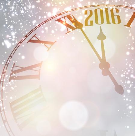 snowfall: Vintage clock over snowfall christmas background. New 2016 year vector illustration.
