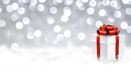 3d realistische geschenkdoos met rode boog over glinsterende bokeh achtergrond. Vector illustratie.