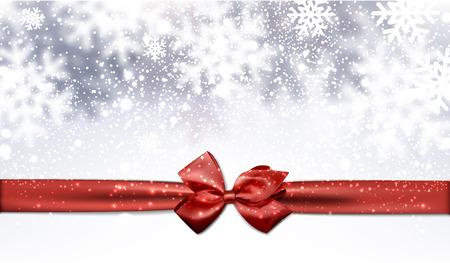 moños navideños: Fondo del invierno con el arco rojo. Ilustración del vector.