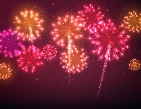 お祭り色花火背景。ベクトルの図。