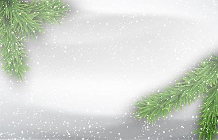 Winter achtergrond met dennentakken. Vector Illustratie.