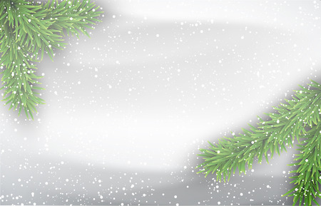 Winter background with fir branches. Vector Illustration. Ilustração
