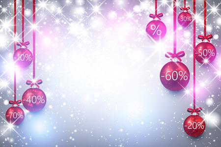 christmas sale: Christmas sale luminous background with balls. Vector Illustration. Illustration