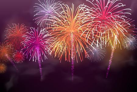 Feestelijke kleur vuurwerk achtergrond. Vector illustratie.