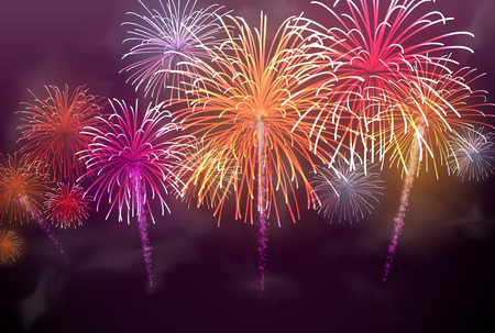 Festive colour firework background. Vector illustration. Vettoriali