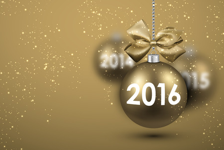 argent: 2016 New Year card with gold balls. Vector Illustration. Illustration
