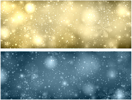 blurred: Christmas blurred background with snowflakes and lights. Vector Illustration.