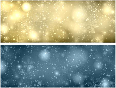 Kerstmis vage achtergrond met sneeuwvlokken en verlichting. Vector Illustratie.