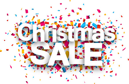 christmas promotion: Christmas sale paper sign over confetti. Vector illustration. Illustration