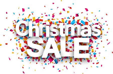 deal: Christmas sale paper sign over confetti. Vector illustration. Illustration