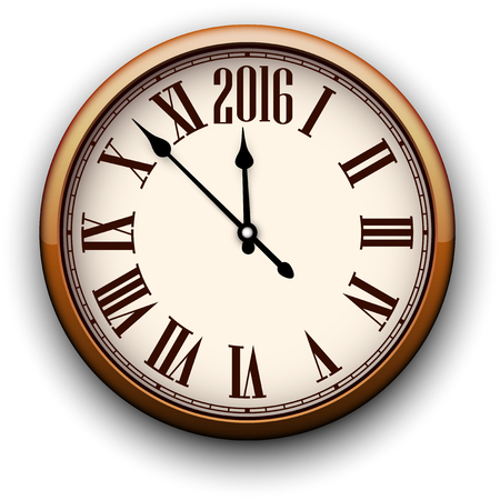 object with face: Old clock with roman numbers. Happy 2016 year. Vector illustration.