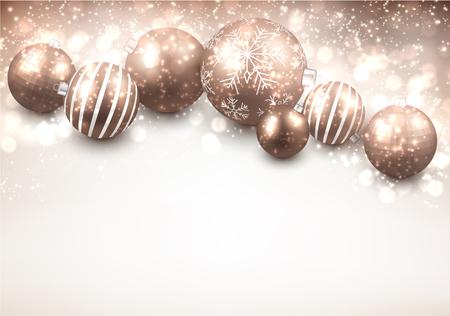 Christmas background with gold balls. Vector Illustration. Иллюстрация
