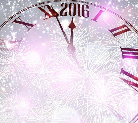clock: 2016 New Year background with clock. Vector paper illustration.