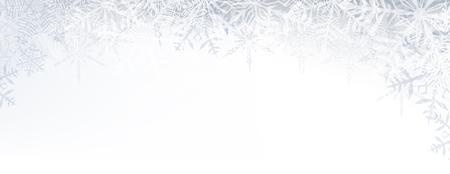 copo de nieve: Patr�n Bandera del invierno con copos de nieve transparentes crystallic y lugar para el texto. Fondo de la Navidad. Vector.