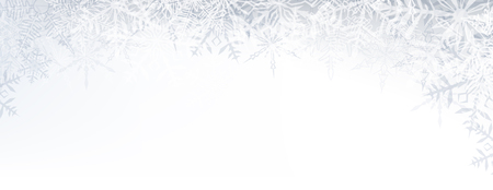 december background: Winter banner pattern with crystallic transparent snowflakes and place for text. Christmas background. Vector.