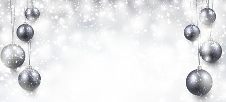 new ball: Abstract background with silver christmas balls and place for text. Vector illustration. Illustration