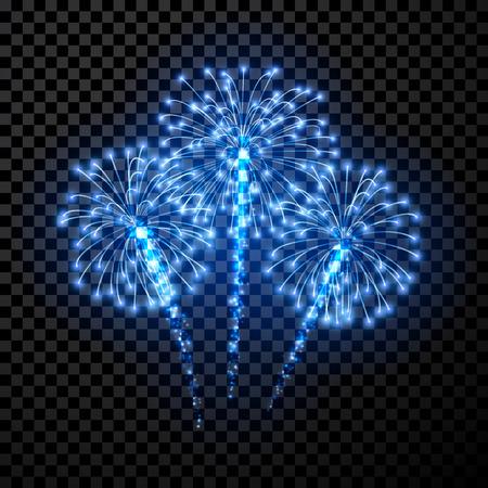 Feestelijke blauw vuurwerk achtergrond. Vector illustratie.