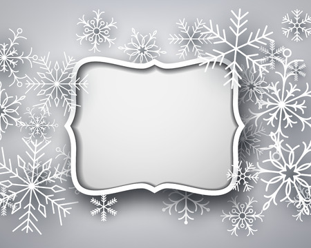 cadre: Christmas background with snowflakes. Vector Illustration.