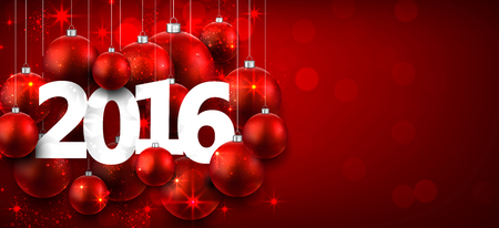 happy new year banner: Happy 2016 new year with red christmas baubles. Vector banner. Illustration