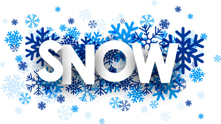 Snow sign with snowflakes. Vector illustration.
