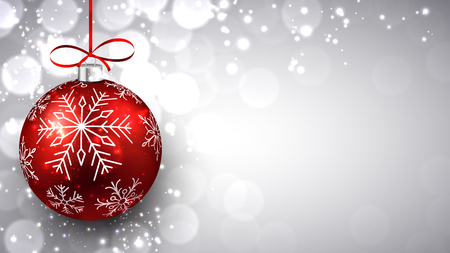 christmas ball: Silver defocused background with red christmas bauble and place for text. Vector.