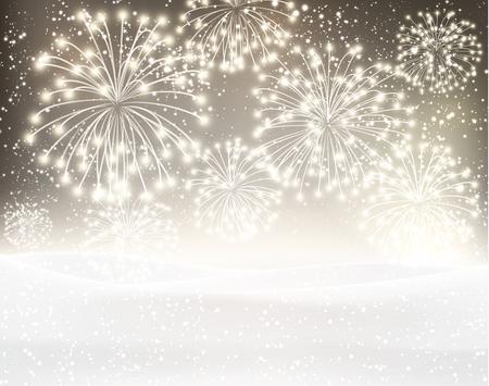 xmas background: Festive xmas firework sepia background. Vector illustration.